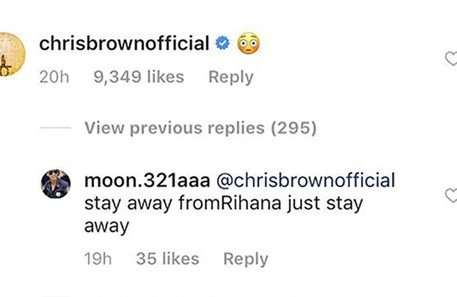 Chris Brown cria polémica ao comentar foto de Rihanna no Instagram