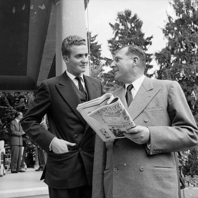 Juan Carlos com o pai, Juan Carlos, 1957